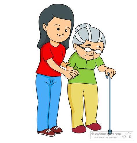 841401491 Woman Helping Elderly Woman To Walk Jpg 527 550 Kids Clipart Cartoon Kids Cartoon Clip Art