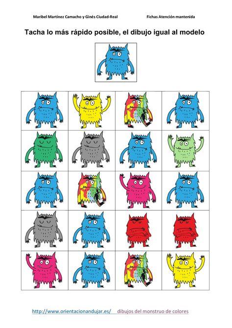 #TDAH Trabajamos la atención y las emociones tacha letras igual al modelo monstruo de colores -Orientacion Andujar