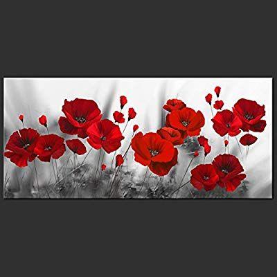 Decomonkey Bilder Blumen Mohnblumen Rot 100x45 Cm 1 Teilig Leinwandbilder Bild Auf Leinwand Vlies Wandbild Kunstdruck Wanddeko Cicekli Desenler Cicek Desenler