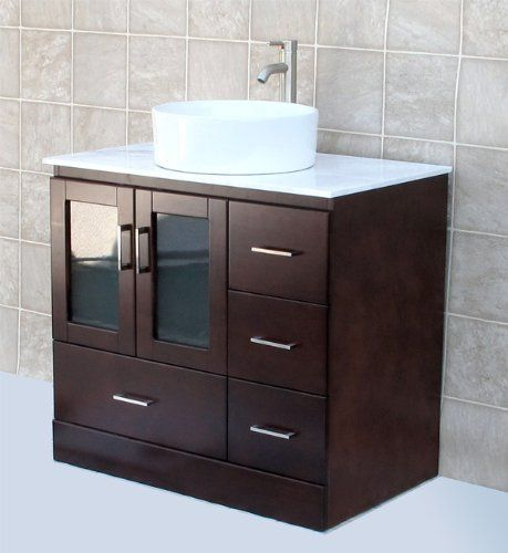 Solid Wood 36 Bathroom Vanity White Tech Stone Quartz With Ceramic Vessel Sink Vesse 36 Bathroom Vanity White Vanity Bathroom