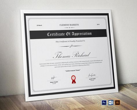 Certificate Template   Editable MS Word   Certificate of Achievement   Printable Award Certificate   Instant Download