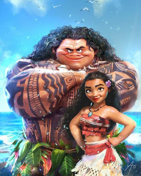Moana and Maui fan art illustration by Rudy Nurdiawan