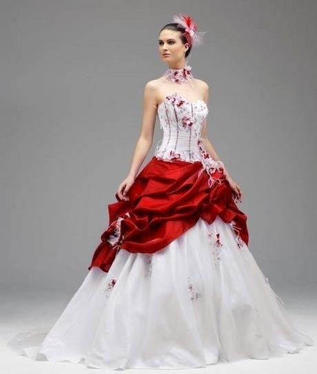 Robe de mariée blan che rouge   Robe marié