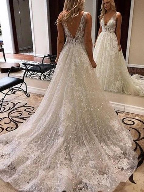 Black Lace Gown, Ivory Lace Wedding Dress, Backless Wedding, Elegant Wedding Dress, Dream Wedding Dresses, Wedding Dress Styles, Cute Dresses For Weddings, Sequin Wedding Dresses, Dress Lace
