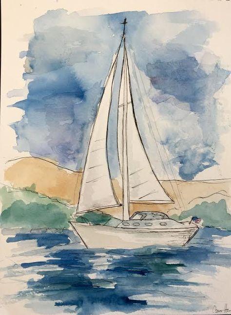 Epingle Par Elisabeth Sur Dessin Aquarelle Bateau Peinture De