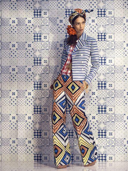 Milan-based designer Stella Jean presents her Spring 2014 collection against a beautiful patchwork tile backdrop.