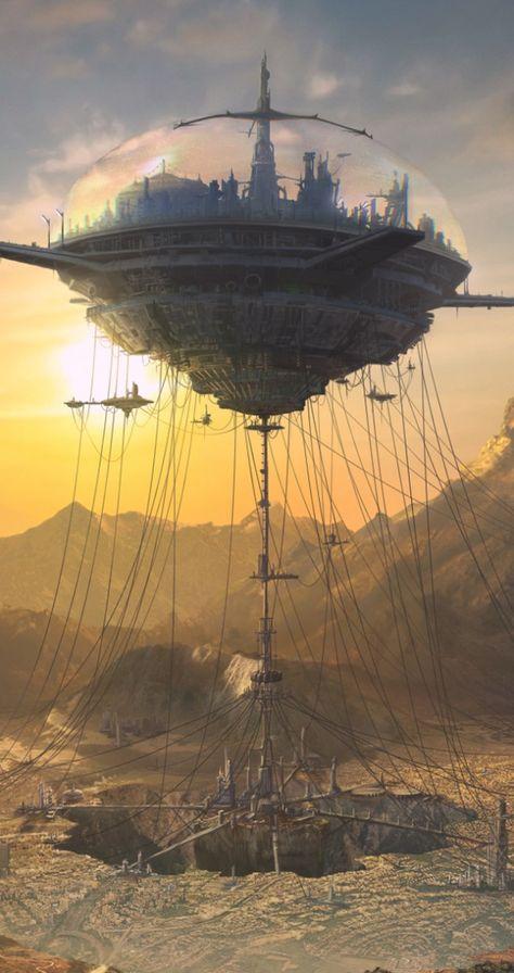 Horizon Matte Painting - Reminds me of a book I once read called, & in Flight& sci-fi, flying city, retro-futuristic, science fiction Fantasy City, Fantasy Places, Sci Fi Fantasy, Fantasy World, Fantasy Story, Digital Art Fantasy, Arte Sci Fi, Sci Fi Art, Futuristic City