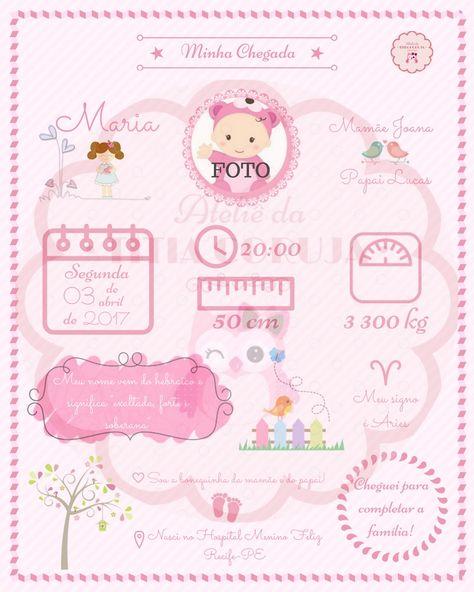 quadro minha chegada - bebê - menina - boneca - rosa - recém-nascido - newborn - decoração - R$ 19,90  Contato: ateliedatitiacoruja@gmail.com