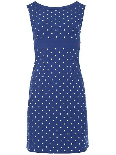 Blauwe jurk witte stippen