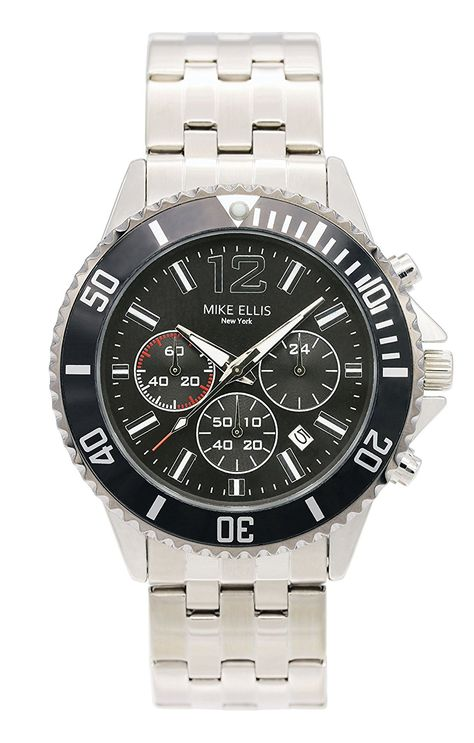 Mike Ellis New York Men's Quartz Watch with Black Dial Analogue Display and Stainless steel gun metal -