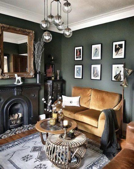 Living Room Dark Furniture Color Schemes Basements 70 Ideas Basements Color Dark Furni In 2020 Dark Walls Living Room Green Walls Living Room Living Room Green