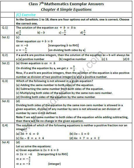 Maths Worksheets For Class 7 Simple Equations This Moment