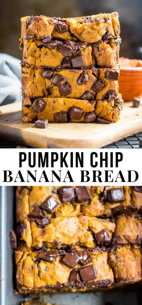 Pumpkin, banana and chocolate, oh my! This simple fall Pumpkin Chip Banana Bread recipe is a cozy treat that is perfect for any autumn occasion. Gotta love pumpkin season! #fall #fallrecipe #pumpkin #pumpkinbread #bananabread #baking #chocolate