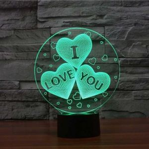 I Love You Hearts 3d Illusion Lamp 3d Illusion Lamp 3d Led Lamp 3d Illusions