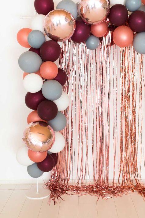 Ballongirlande beere-grau-roségold - #Ballongirlande #beeregrauroségold