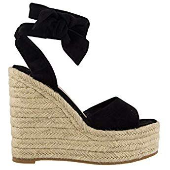 45d6f9d50d655 Amazon.com | Womens Lace Up Slingback Espadrille Platform Wedges ...