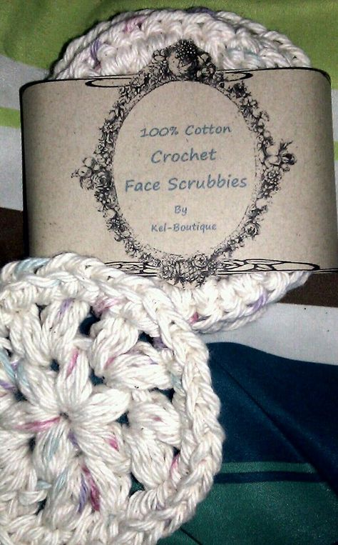 Crochet Face Scrubbies with a pretty DIY label