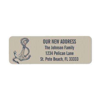 Nautical Vintage Anchor New Home Return Address Label