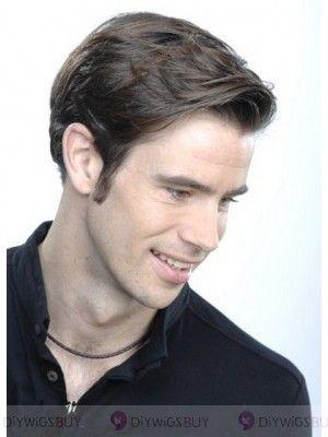 Chic Lisse Moyen Lace Front Cheveux Naturels Hommes Perruques (Dmw48)