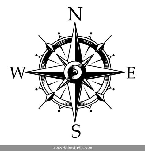 Monochrome compass vector design on white background. Click to the link and find more nautical elements, badges, emblems and designs.#sea#bw #nautical#vectorillustration#vector #illustration#design#tshirt#apparel#appareldesign#download#edit#dgimstudio#art#drawing