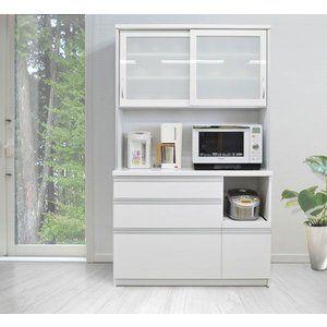 食器棚 キッチンボード メイナード 120cm幅 ホワイト メープル