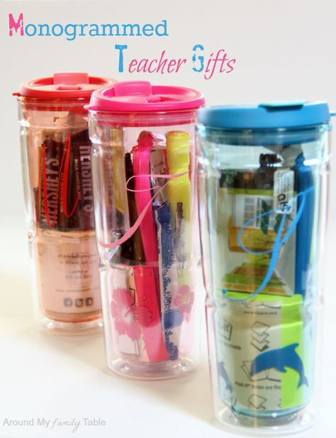 Monogrammed gift cup    3 ink pens  highlighter  sticky note pad  mints  chocolate  iced coffee packet  2 Crystal Light packets  sunscreen chapstick  and a Starbuck's Gift Card (The main teacher got a bit more on her card.)