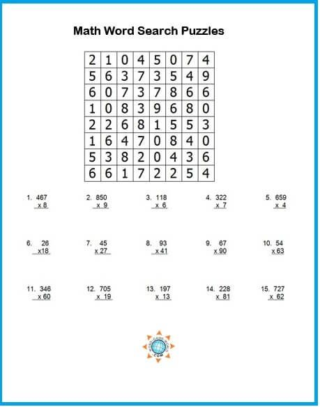 Try A Math Word Search Puzzle Math Word Search Math Words Math