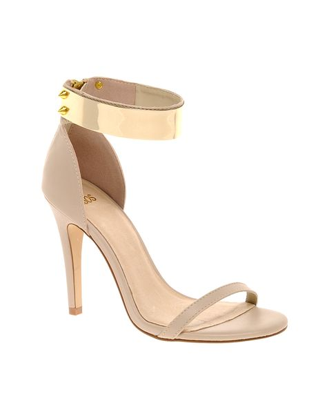 48d1022109b0 Asos Hong Kong Heeled Sandals with Metal Trim in Beige (offwhite)