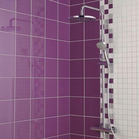 Faience Mur Violet Tulipe Astuce L 20 X L 20 Cm Parement Mural