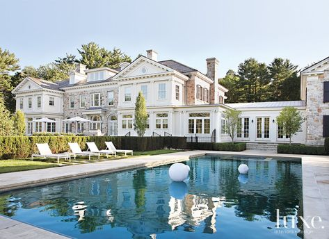 gorgeous dream home - Connecticut dream home - homes in Fairfield County - beautiful home design - home inspiration - homes with a gorgeous outdoor pool - gorgeous home exterior - home architecture - home design ideas - Houses Architecture, Georgian Architecture, Contemporary Architecture, Architecture Details, Contemporary Design, Interior Architecture, Dream House Exterior, House Goals, My Dream Home