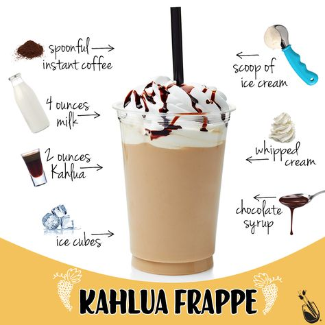 Colorful Cocktails: Kahlua Frappe Kick back and relax with some decadent, boozy bliss. Coffee Drink Recipes, Alcohol Drink Recipes, Milkshake Recipes, Smoothie Recipes, Kahlua Recipes, Keurig Recipes, Kahlua Drinks, Liquor Drinks, Beverages