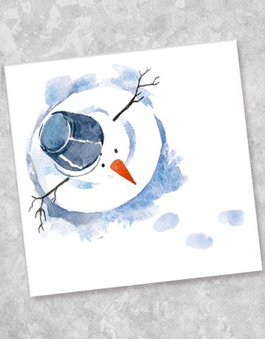 Blue Ink Studios Watercolor Snowman Aquarell Weihnachten