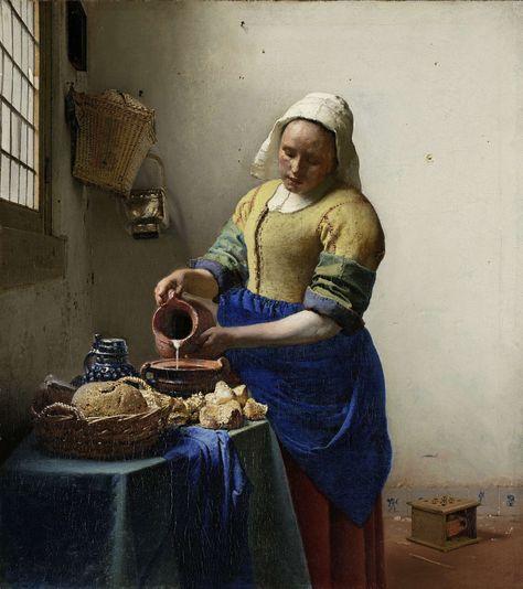 Het melkmeisje, Johannes Vermeer, ca. 1660 ** Geheel verdiept in haar werk schenkt een dienstmeisje melk in. Behalve de witte melkstraal lijkt niets te bewegen. Die alledaagse handeling balde Vermeer samen tot een indrukwekkend schilderij – als een beeld staat de figuur vrij in de lichte ruimte. Vermeer had oog voor hoe het licht in honderden kleurige puntjes over de voorwerpen speelt.