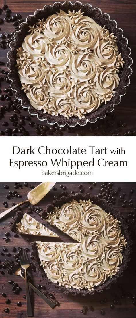 Chocolate Tart with Espresso Whipped Cream Dark Chocolate Espresso Tart- omg this coffee flavored dessert looks ah-mazing! So decadent and gorgeous!Dark Chocolate Espresso Tart- omg this coffee flavored dessert looks ah-mazing! So decadent and gorgeous! Brownie Desserts, Chocolate Desserts, Just Desserts, Delicious Desserts, Yummy Food, Chocolate Filling, Chocolate Cake, Mini Chocolate Tarts, Amazing Dessert Recipes