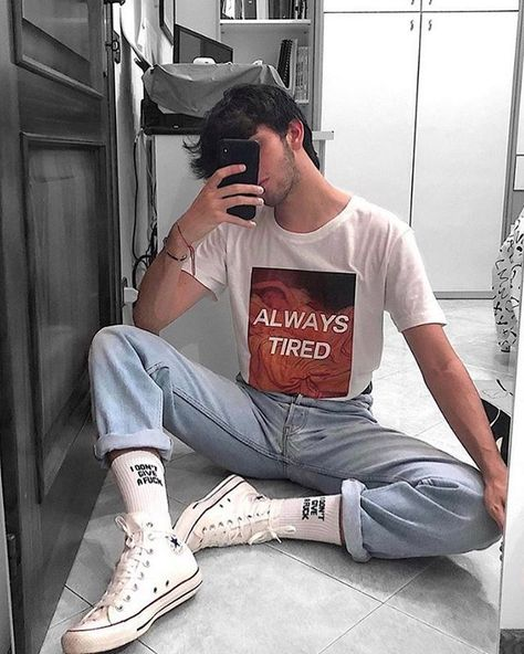 Vintage male look summer tumblr in the mirror # fashion # fashion # style #ve ...