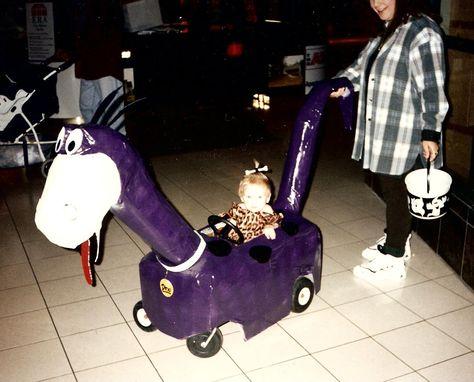 Zaynah as Pebbles riding Dino-Halloween 1995