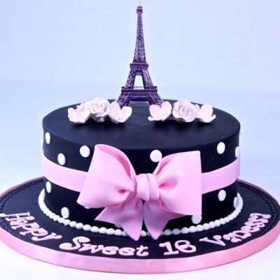 Super Paris Themed 1 Tier Sweet 16 Cake With Images Paris Themed Funny Birthday Cards Online Fluifree Goldxyz