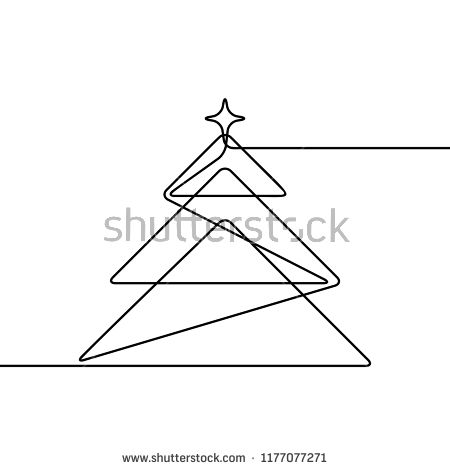 Continuous Line Drawing Of Christmas Tree Black And White Vector Minimalistic Linear Illustration Made O Christmas Tree Drawing Tree Line Drawing Tree Drawing