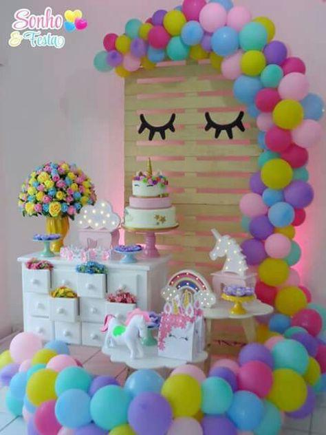 Decoracion Cumpleanos Fiesta Tema Unicornio Fiestas Infantiles