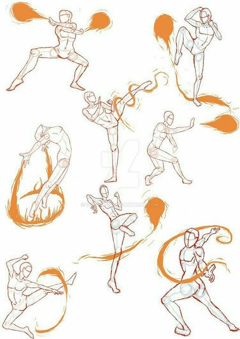 Manga Drawing Techniques Practice Sketches 4 (FireBender Poses) by - Anime Poses Reference, Figure Drawing Reference, Anatomy Reference, Action Pose Reference, Human Reference, Sketch 4, Drawing Sketches, Drawing Tips, Fire Sketch