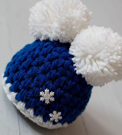 e78d70126ad Newborn Blue Double Pom Pom Crochet Winter Snowflake Hat Photography Prop.   25