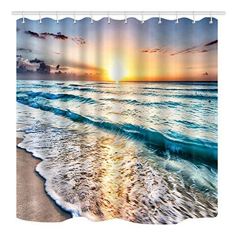 Nymb Ocean Shower Curtain Sand Beach Wave Sea Water Patt Https