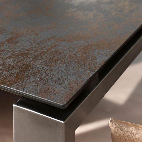 La table EXTENS munie de rallonges, plateau en céramique ...