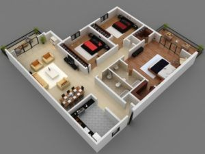 Awesome 25 More 3 Bedroom 3d Floor Plans 1000 Sq Ft House Small Three 4 Room House Planning 3d Images Hou 3d House Plans Small House Design Small House Plans