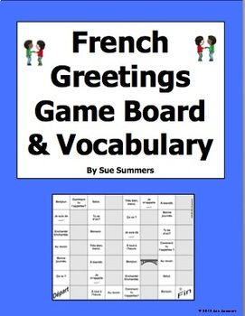 French greetings board game and vocabulary les salutations pinterest m4hsunfo