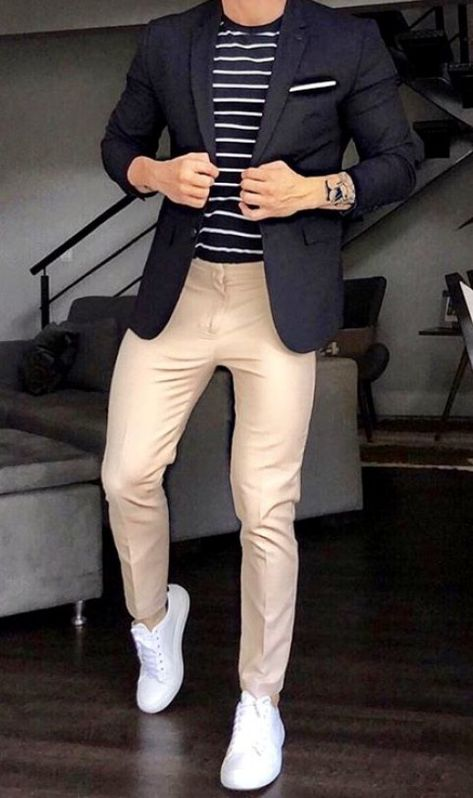 Its getting chilling out there. Time to pull our the blazers and sweaters! Like this look? Black blazer black and white striped shirt with tan pants and white sneakers?! Get this outfit from Giorgenti New York. #menwithstreetstyle #menwithstyle #menwear #menswear #mensguides #tailored #dappermen #sartorial #mensfashion #menfashion #mensfashionstyle #businessman #giorgentiweddings #mensfashioncasual #menstyle #mensstyle #men'sblazer #men's #blazer #outfit