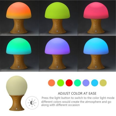 A malleable mushroom-shaped lamp that glows in a variety of different colors and…