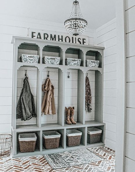 Entryway Storage Ideas When You Don't Have a Mudroom · Sprinkled Nest Interiors Farmhouse mudroom or entryway with built-in cubbies, brick herringbone flooring, white shiplap wall Mudroom Cubbies, Mudroom Laundry Room, Small Mudroom Ideas, White Shiplap Wall, Entryway Wall, Entryway Ideas, Small Entryways, Bedroom Storage, Closet Storage