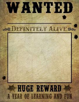 Wanted Posters Western Cowboy Theme Cowboy Theme Wild West Theme Teacher Appreciation Themes