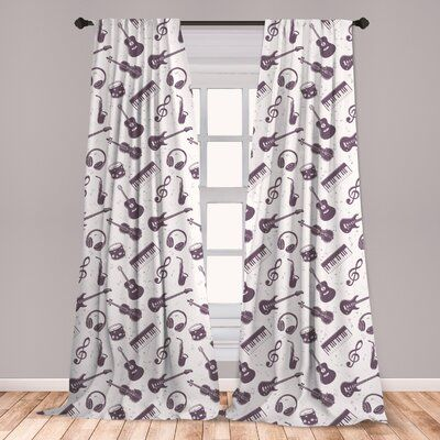 East Urban Home Music Room Darkening Rod Pocket Curtain Panels Size Per Panel 28 X 95 Music Room Design Home Music Rooms Music Themed Bedroom